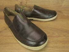 OluKai Kama'Aina Brown Leather Mens Slip On Loafer Sneaker Shoes Size 10.5