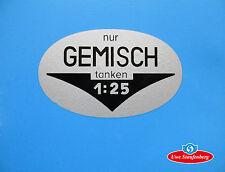 """Aufkleber """"Nur Gemisch tanken 1:25"""" Trockenabziehbild für Goggomobil Goggo"""