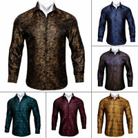 Mens Dress Shirt Silk Long Sleeve Red Blue Paisley Floral Casual Botton Up S M L