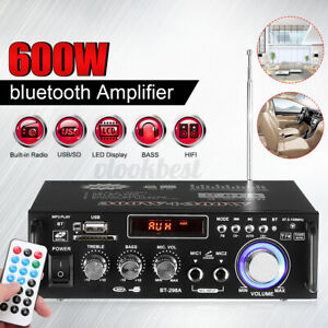 600W bluetooth HIFI Home Car Power Amplifier w/ Remote 2 Channel Audio Stereo US