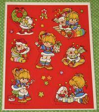 VINTAGE 1983 HALLMARK RAINBOW BRITE & TWINK CHRISTMAS STICKERS~RED BACKGROUND