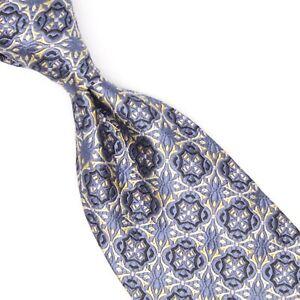 Robert Talbott Best of Class Mens Silk Necktie Blue Gold Ornate Mosaic Weave Tie