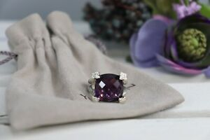 David Yurman Cushion On Point 14mm Amethyst & Diamond Ring Size 6.25