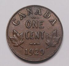 1929 Small Cent EF ** Very Attractive HIGH Grade King George V Old Canada Penny