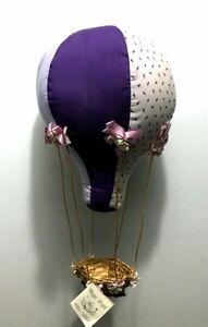 HUGE Vintage Hanging Stuffed Purple HOT AIR BALLOON Nursery Kids Decor < Shari >