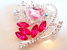 VALENTINE'S HEART BROOCH!Sparkling Pink & Clear Crystal Pin.Silver Tone Setting.
