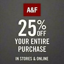 5(FIVE) Abercrombie 25% 1Coupon Ex. 12/30/20 works Clearence/Sale/  US ONLY