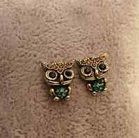 Ladies Fashion Style Owl Bird Rhinestone Cute  Ear Stud Earrings Jewelry Gift