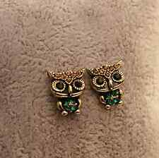 Fashion Womens Crystal Cute Owl Bird Rhinestone Ear Stud Emerald Eyes Earrings