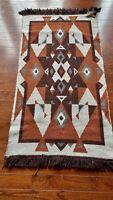 """Antique Vintage Navajo WOOL   Rug  Native American Indian  48X26"""" 11lbs"""