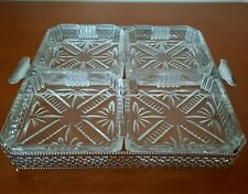 VINTAGE SILVER PLATED SERVING / SNACK TRAY WITH 4 GLASS DISHES