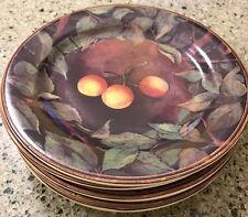 Gien France Cueillette Set of 6 Fruit & Leaves Appetizer Bread Plates