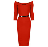 Cinnamon Orange Vintage Belted 3/4 Sleeve Bodycon Wiggle Pencil Dress UK 8 - 18