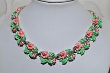 LOVELY VINTAGE UNSIGNED EXQUISITE ROSE ENAMEL BIRTHDAY SERIES NECKLACE