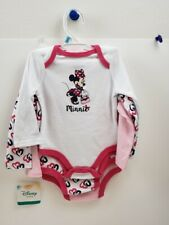 NWT Disney Baby Set Of Three Minnie Mouse One Piece Bodysuit Creepers 6-9 Months
