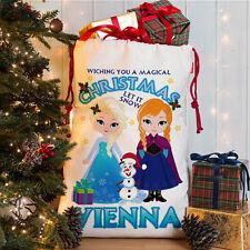 Personalised Frozen Christmas Sack Girls Santa Xmas Bag Anna Elsa Present Gift