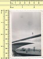 032 60's Man on Bridge, Abstract Artistic Scene vintage original photo snapshot