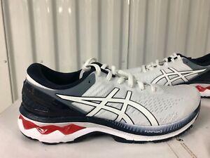 Asics Gel Kayano 27 $170 White Peacoat Blue 3M sz 8.5 1011A767 100 Running Shoes
