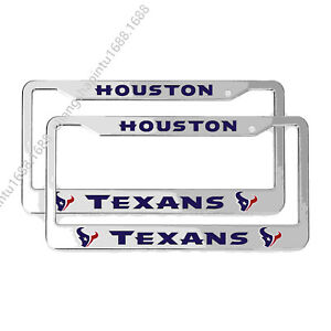 2PCS Houston Texans License Plate Frame Aluminum Tag Cover With Screw Caps
