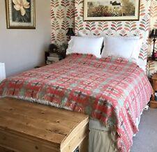"""Welsh Wool BRYNKIR Blanket Throw Bedspread Tapestry, Red Beige Black 93"""" x 74.5"""""""