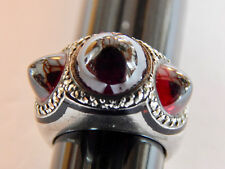 ANTIQUE ART DECO SILVER WITH GARNET CABOCHONS, MARCASITE AND ENAMEL RING 5 1/4