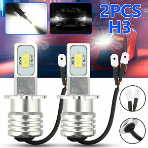 2x H3 Super White CREE LED Headlight Kit 100W 10000LM Fog Driving DRL Bulb 6000K