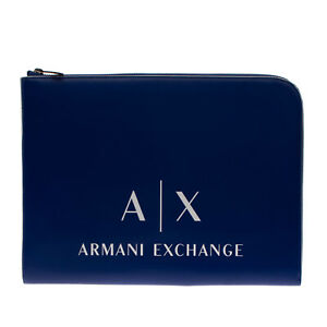 ARMANI EXCHANGE Clutch Bag Pouch Large Printed Logo Front Zip Closure