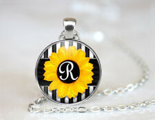 Vintage Sunflower Initial R Tibetan silver Dome Glass Art Chain Pendant Necklace