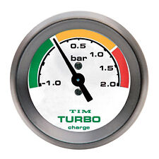 Tim Turbo Boost Gauge Rostro Blanco Negro Bisel 52mm Diam Carrera Rally -1 a +2 Bar