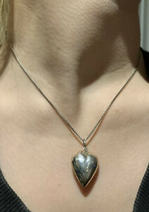 Vintage 1980s, Sterling Silver Puffy Heart Pendant & Sterling Chain.