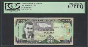 Jamaica 100 Dollars 15-1-2011 P84f Uncirculated Graded 67