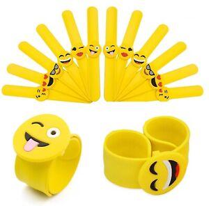 Emoji Slap Bracelets Wrist Bands Gift Party Smiley Face - Same Day Dispatch