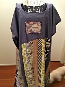 PATCHWORK MAXI COTTON CAFTAN KAFTAN LONG DRESS WOMENS CLOTHING PLUS SIZEAU14-24