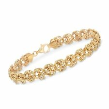 """7"""" Rosette Love Knot Link Bracelet with Lobster Clasp Real 18K Yellow Gold"""