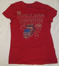 JUNIORS T-SHIRT MEDIUM 7/9 THE ROLLING STONES 1985 CLASSIC ROCK GRAPHIC TEE RED!