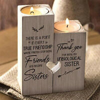Wood Heart Shape Tea Light Candle Holder Thanks for Being My Unbiological Sister
