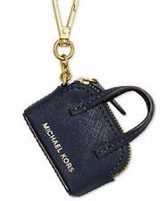 New michael Kors Cindy Key Fob Charm Coin Purse saffiano leather top zipper navy