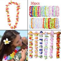 30pcs Hawaiian Leis Necklace Tropical Luau Hawaii Silk Flower Wreath Party Decor
