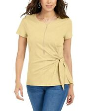 New listing Style & Co. Womens Top Yellow Size XL Knit Tie-Hem Gathered T-Shirt $39 063