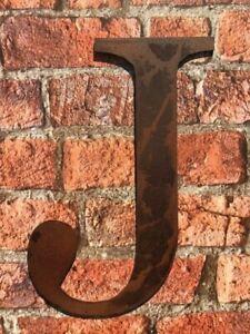 Industrial Rusty Aged Metal 12 Inch (30.5 cm.) Alphabet Letter - J