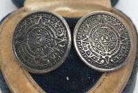 Vintage Sterling Silver Earrings 925 Screw Back Mayan Calendar Mexico Taxco