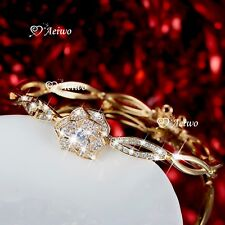 18K YELLOW GOLD GF SPARKLING SIMULATED DIAMOND ROSE FLOWER BANGLE CHAIN BRACELET