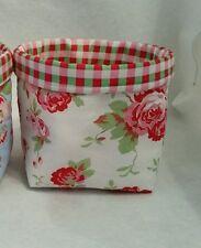 Handmade Cath Kidston white Rosali rose Fabric bits&bobs Storage Basket/Bin/Tub