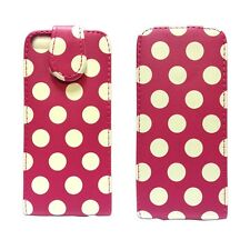 CASE FOR APPLE IPHONE 5 5S SE FLIP PU LEATHER POLKA DOT STYLE PINK POUCH COVER