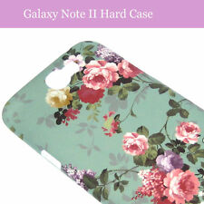 Samsung Galaxy Note 2 II Türkis Blume Flower Hard Back Case Cover Hülle Tasche