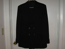 Ted Lapidus Paris Designer Jacket 42R Blk Winter Wool Vintage Dbl Breasted Excel