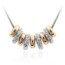 18K White & Rose Gold GP Made With Swarovski Crystal Round Beaded Necklace