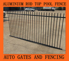 Aluminium Pool Fencing -  Rod Top Black 2400x1200 Fence