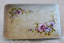 """DECORATIVE LAVENDER METAL TRAY WITH FLOWERS 11 1/2"""" LONG VERY PRETTY"""