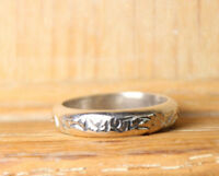 Sterling Silver Ring .925 Stackable Hammered band Size 6.5 Wedding Mens Unisex
